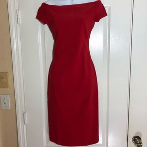 Zara Basic Off the Shoulders Red Body-con Dress